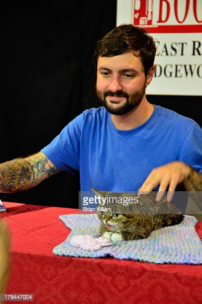 """Lil Bub and owner Michael Bridavsky promote """"Lil Bub's Lil Book: The Extraordinary Life of the most Amazing Cat on the Planet"""" at Bookends Bookstore..."""