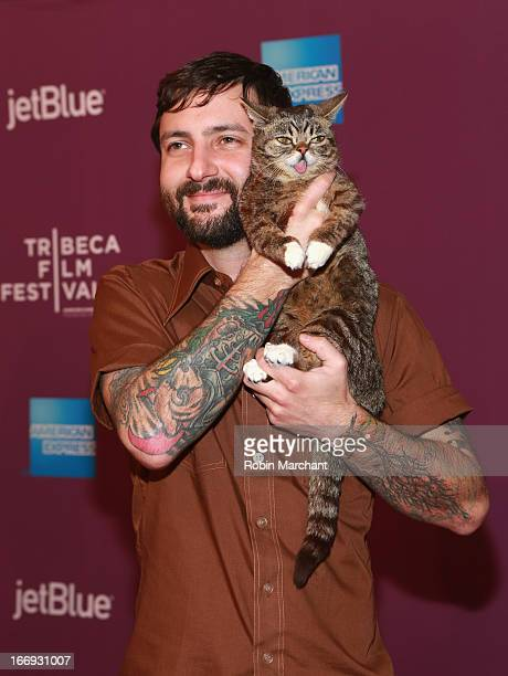 Lil Bubs owner Mike Bridavsky and celebrity internet cat Lil Bub attend the Lil Bub Friendz world premiere during the 2013 Tribeca Film Festival on...
