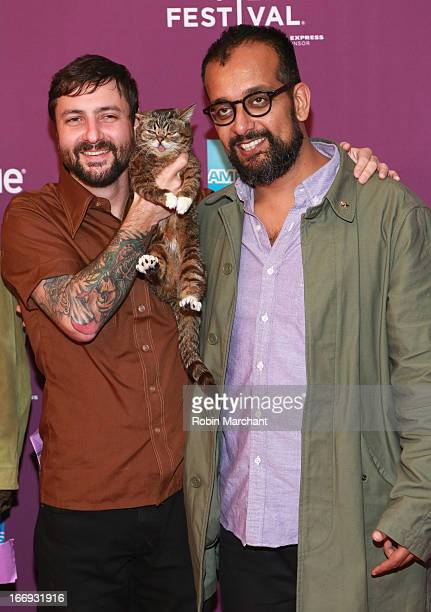 Lil Bubs owner Mike Bridavsky celebrity internet cat Lil Bub and cofounder of VICE Suroosh Alvi attend the Lil Bub Friendz world premiere during the...