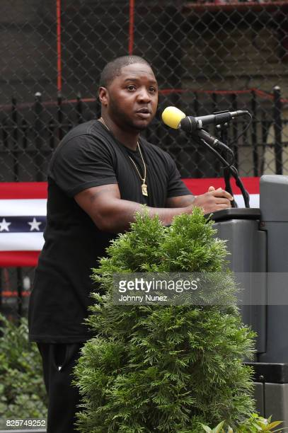 Lil Cease speaks at the ribbon cutting ceremony at Crispus Attucks Playground on August 2 2017 in the Brooklyn borough of New York City NYC Parks has...
