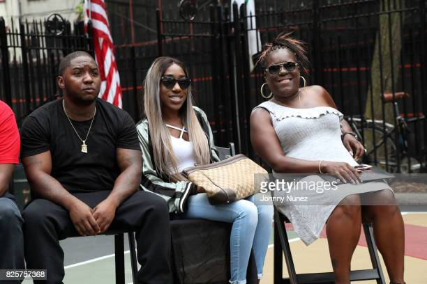 Lil Cease T'yanna Dream Wallace and Jan Jackson attend the ribbon cutting ceremony at Crispus Attucks Playground on August 2 2017 in the Brooklyn...