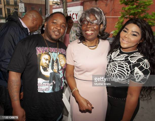 Lil Cease, Voletta Wallace and Lil Kim attend the Notorious B.I.G. Street Naming in Brooklyn New York on June 10, 2019 in Brooklyn, New York. On June...