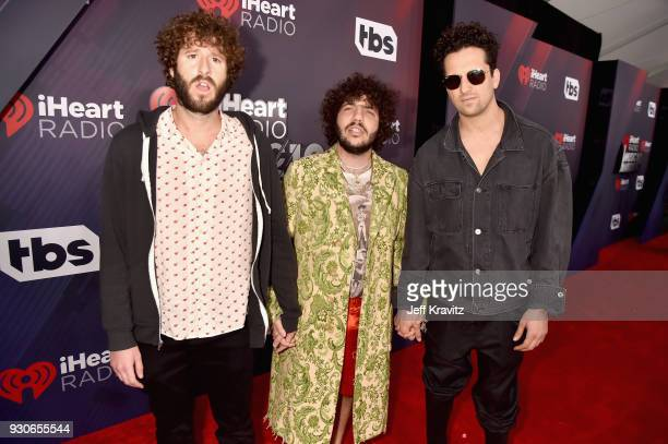 Lil Dicky and Benny Blanco arrive at the 2018 iHeartRadio Music Awards which broadcasted live on TBS TNT and truTV at The Forum on March 11 2018 in...