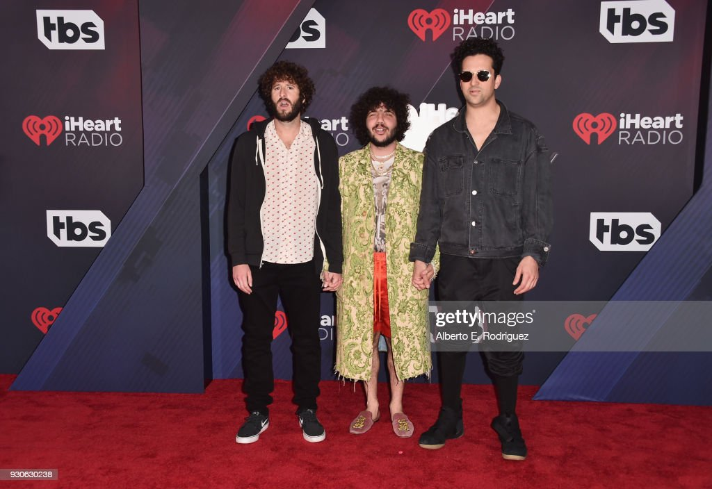 Lil Dicky, Benny Blanco, and Francis Farewell Starlite arrive at the 2018 iHeartRadio Music Awards which broadcasted live on TBS, TNT, and truTV at The Forum on March 11, 2018 in Inglewood, California.