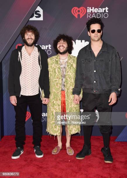 Lil Dicky Benny Blanco and Francis Farewell Starlite arrive at the 2018 iHeartRadio Music Awards which broadcasted live on TBS TNT and truTV at The...