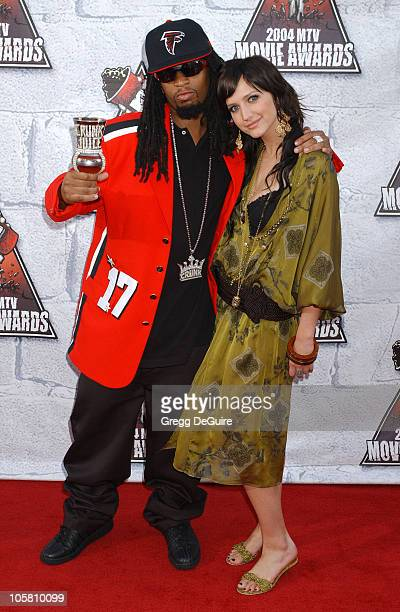 Lil Jon and Ashlee Simpson during MTV Movie Awards 2004 Arrivals at Sony Pictures Studios in Culver City California United States