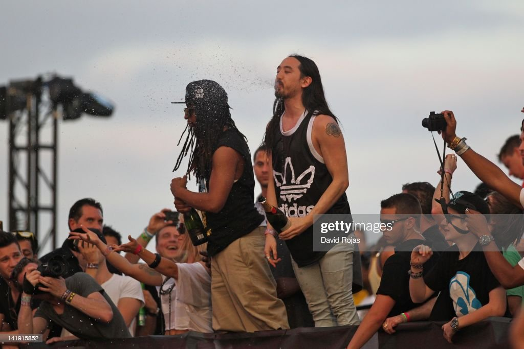 Lil Jon and Steve Aoki performs at Ultra Music Festival 14 at Bayfront Park Amphitheater on March 25, 2012 in Miami, Florida.