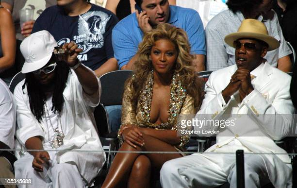 Lil' Jon Beyonce and JayZ during 2004 MTV Video Music Awards Backstage and Audience at American Airlines Arena in Miami Florida United States