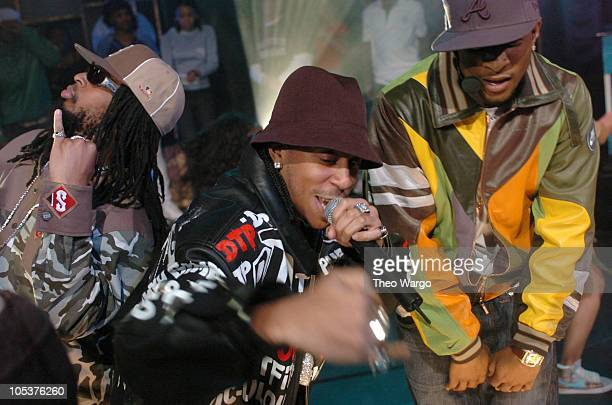 Lil' Jon Ludacris and Usher during Usher Ludacris and Lil' Jon Visit MTV's 'TRL' March 23 2004 at MTV Studios Times Square in New York City New York...
