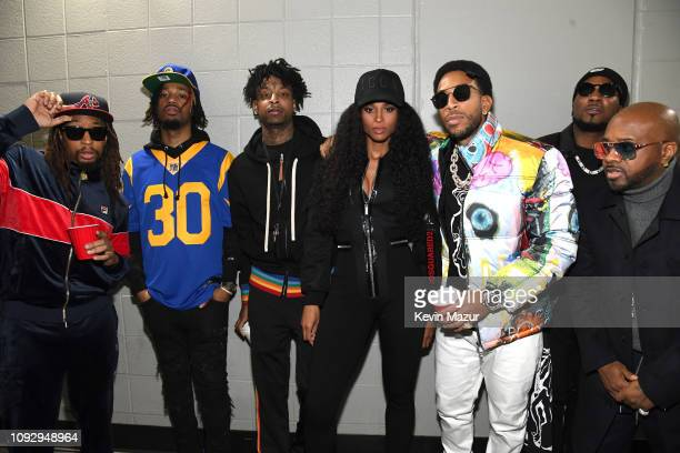Lil Jon Metro Boomin 21 Savage Ciara Ludacris Young Jeezy and Jermaine Dupri pose backstage during Bud Light Super Bowl Music Fest / EA SPORTS BOWL...