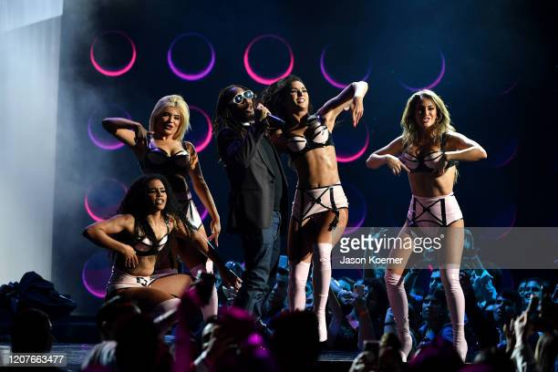 Lil Jon performs live on stage during Univision's Premio Lo Nuestro 2020 at AmericanAirlines Arena on February 20 2020 in Miami Florida