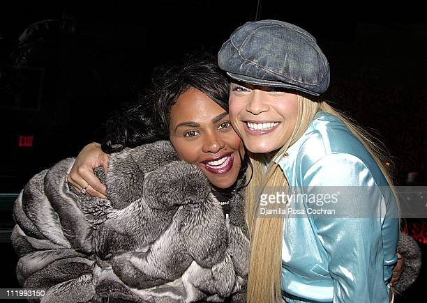 Lil' Kim and Blu Cantrell during Blu Cantrell's Party at Lobby in New York City, New York, United States.