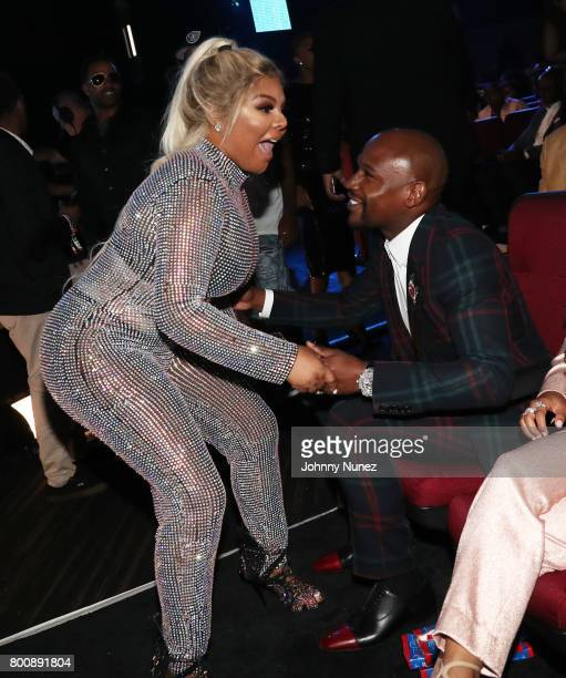 Lil Kim and Floyd Mayweather in the audience at the 2017 BET Awards at Microsoft Theater on June 25 2017 in Los Angeles California