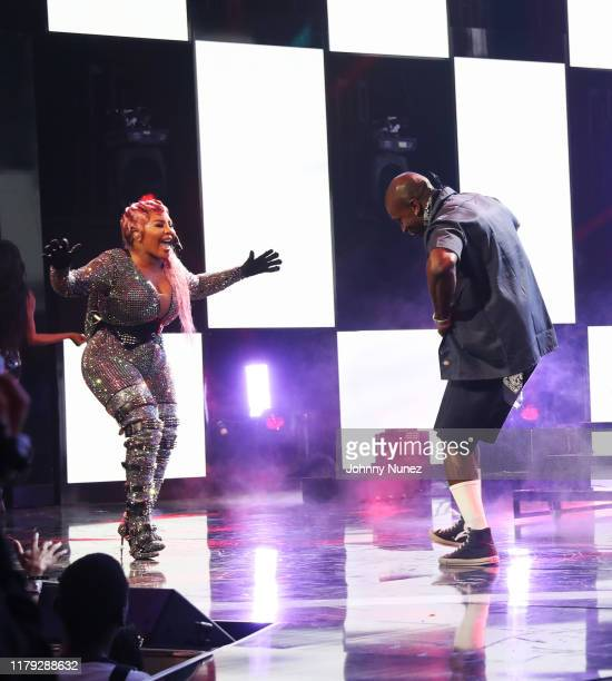 Lil' Kim and OT Genasis perform onstage at the BET Hip Hop Awards 2019 at Cobb Energy Center on October 05 2019 in Atlanta Georgia