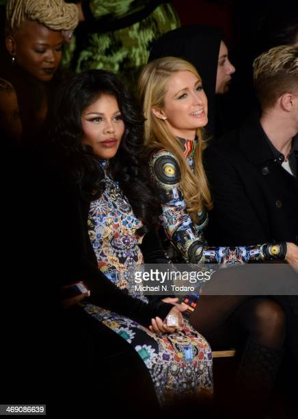 Lil Kim and Paris Hilton attend the The Blonds Show during MADE Fashion Week Fall 2014 at Milk Studios on February 12, 2014 in New York City.
