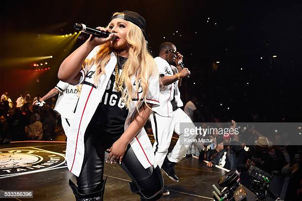 Lil Kim and Sean 'Diddy' Combs aka Puff Daddy perform onstage during the Puff Daddy and The Family Bad Boy Reunion Tour presented by Ciroc Vodka and...
