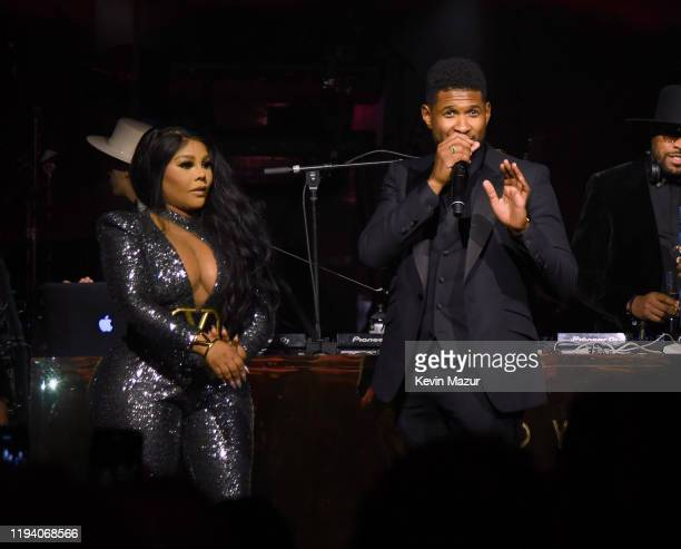 Lil Kim and Usher speak onstage during Sean Combs 50th Birthday Bash presented by Ciroc Vodka on December 14 2019 in Los Angeles California
