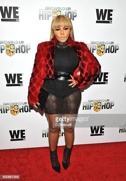 Lil' Kim attends as WE tv Celebrates The Premiere Of New Series Growing Up Hip Hop on December 10 2015 in New York City
