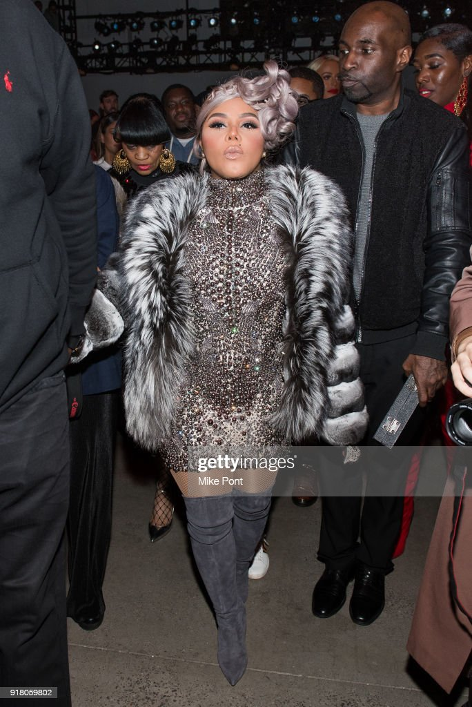 Lil Kim attends The Blonds fashion show during New York Fashion Week: The Shows at Spring Studios on February 13, 2018 in New York City.