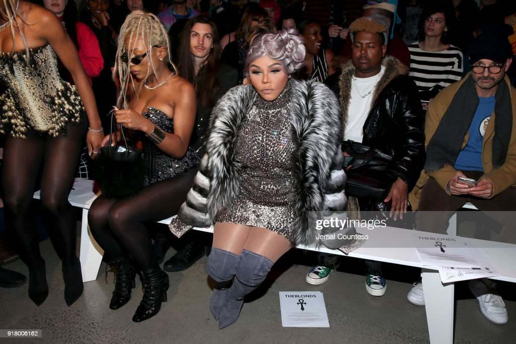 Lil Kim attends The Blonds front row during New York Fashion Week: The Shows at Gallery I at Spring Studios on February 13, 2018 in New York City.