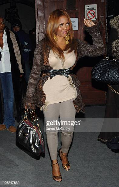 Lil Kim during MercedesBenz Fashion Week Fall 2007 Marc Jacobs Arrivals at New York State Armory in New York City New York United States