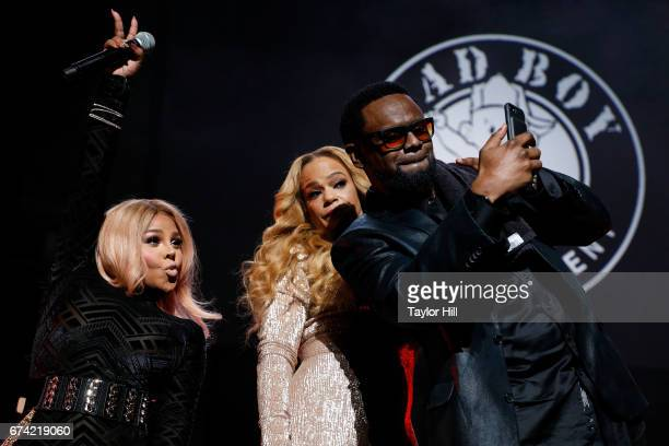 Lil Kim Faith Evans and Carl Thomas take a selfie during the concert celebrating Can't Stop Won't Stop during the 2017 Tribeca Film Festival at...