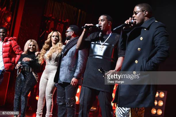 Lil Kim Faith Evans Sean Combs and Mase perform at the Can't Stop Won't Stop The Bad Boy Story Premiere at the Beacon Theatre on April 27 2017 in New...
