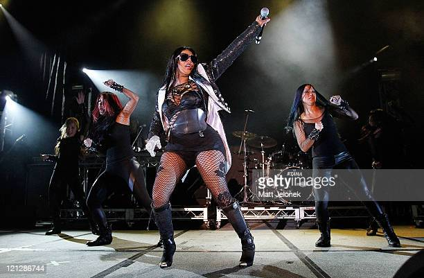 Lil' Kim performs on stage at the WinterBeatz Festival at Challenge Stadium on August 17 2011 in Perth Australia