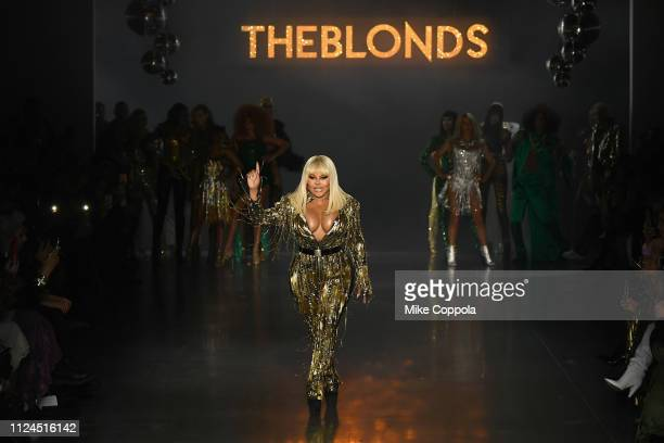 Lil' Kim performs on the runway for The Blonds fashion show during New York Fashion Week: The Shows at Gallery I at Spring Studios on February 12,...