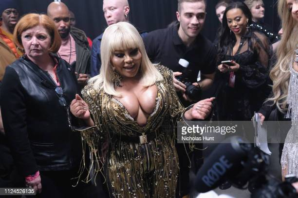 Lil' Kim poses backstage for The Blonds fashion show during New York Fashion Week The Shows at Gallery I at Spring Studios on February 12 2019 in New...