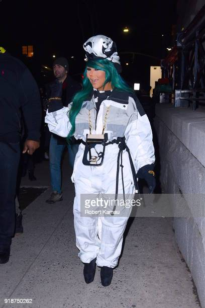 Lil' Kim seen leaving a New York Fashion event in Manhattan on February 14 2018 in New York City