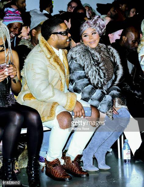 Lil Kim sits Front Row at The Blonds Runway Show at Spring Studios on February 13 2018 in New York City