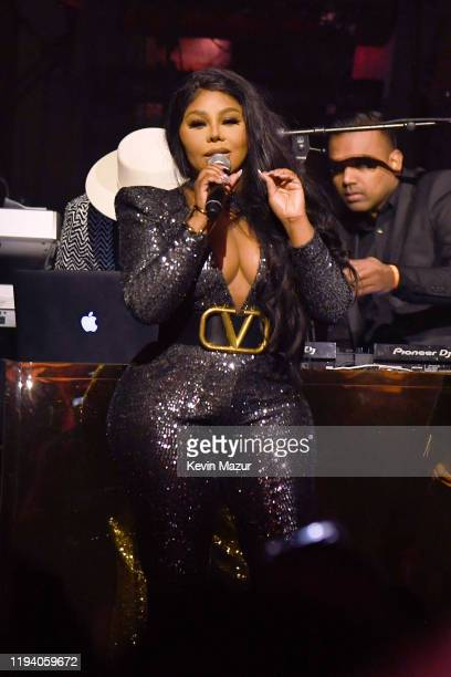 Lil Kim speaks onstage during Sean Combs 50th Birthday Bash presented by Ciroc Vodka on December 14 2019 in Los Angeles California