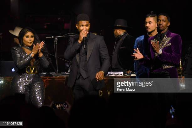 Lil Kim, Usher, Quincy Combs, and Christian Casey Combs speak onstage during Sean Combs 50th Birthday Bash presented by Ciroc Vodka on December 14,...