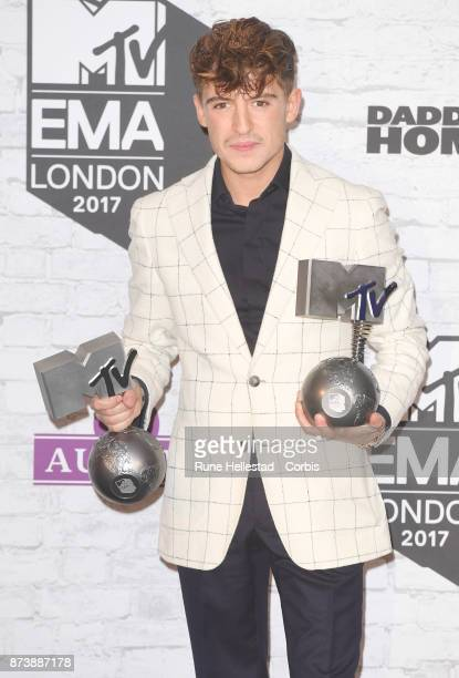 Lil' Kleine poses in the winner's room during the MTV EMAs 2017 held at The SSE Arena Wembley on November 12 2017 in London England