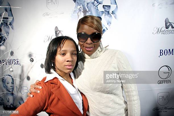 Lil Mama and Mary J Blige during Mary J Blige Album Release Party For 'Break Through' at PM in New York City New York United States