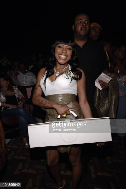 Lil Mo during Olympus Fashion Week Spring 2006 Baby Phat Front Row and Backstage at Radio City Music Hall in New York City New York United States