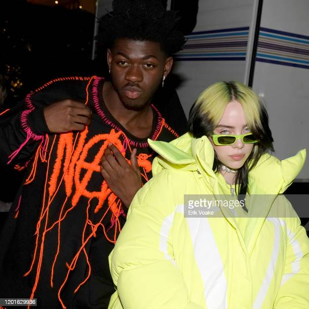 Lil Nas X and Billie Eilish attend Spotify Hosts Best New Artist Party at The Lot Studios on January 23 2020 in Los Angeles California