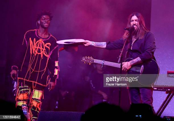 Lil Nas X and Billy Ray Cyrus perform onstage during Spotify Hosts Best New Artist Party at The Lot Studios on January 23 2020 in Los Angeles...