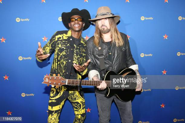 Lil Nas X and Billy Ray Cyrus visit the Spotify House during CMA Fest at Ole Red on June 06 2019 in Nashville Tennessee