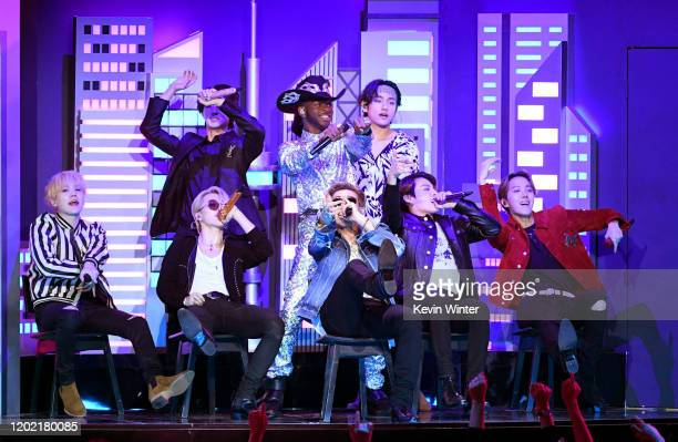 Lil Nas X and BTS perform onstage during the 62nd Annual GRAMMY Awards at STAPLES Center on January 26 2020 in Los Angeles California
