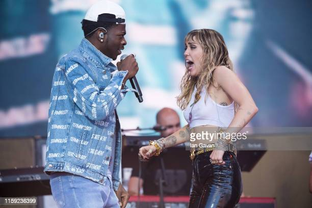 Lil Nas X and Miley Cyrus perform on the Pyramid stage on day five of Glastonbury Festival at Worthy Farm Pilton on June 30 2019 in Glastonbury...