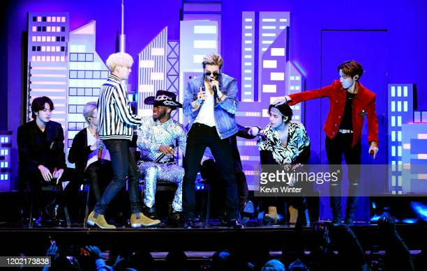Lil Nas X and music group BTS perform onstage during the 62nd Annual GRAMMY Awards at STAPLES Center on January 26 2020 in Los Angeles California