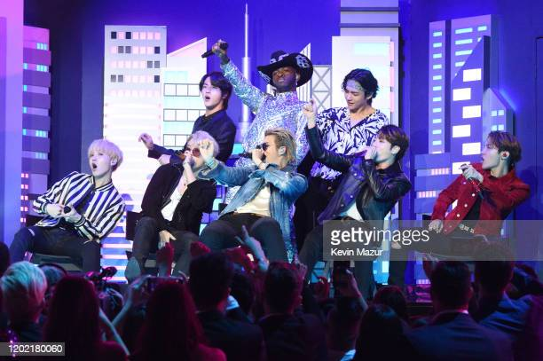 Lil Nas X, Billy Ray Cyrus and BTS perform during the 62nd Annual GRAMMY Awards at STAPLES Center on January 26, 2020 in Los Angeles, California.