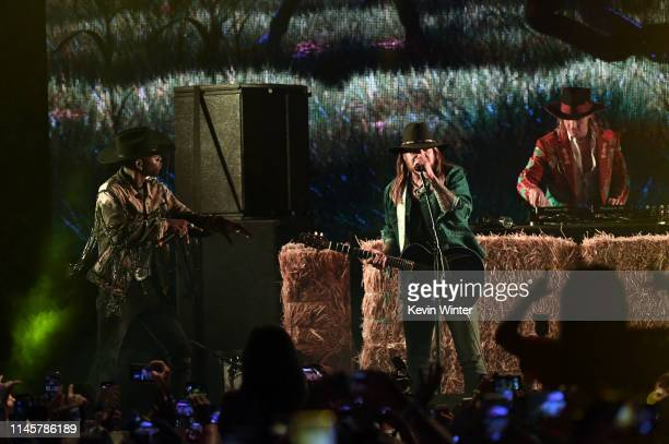 Lil Nas X, Billy Ray Cyrus and Diplo perform onstage during the 2019 Stagecoach Festival at Empire Polo Field on April 28, 2019 in Indio, California.