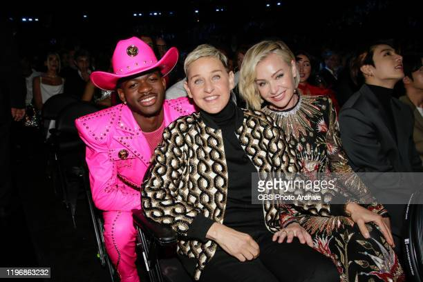 Lil Nas X, Ellen DeGeneres, and Portia de Rossi appear at THE 62ND ANNUAL GRAMMY® AWARDS, broadcast live from the STAPLES Center in Los Angeles,...