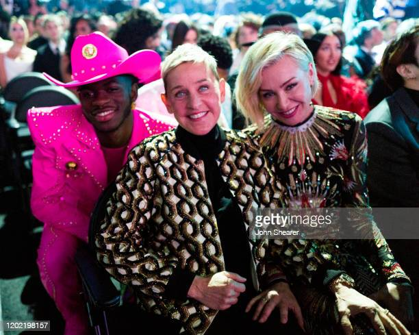 Lil Nas X Ellen DeGeneres and Portia de Rossi attend the 62nd Annual GRAMMY Awards on January 26 2020 in Los Angeles California