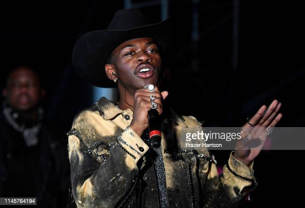 Lil Nas X is interviewed backstage during the 2019 Stagecoach Festival at Empire Polo Field on April 28 2019 in Indio California