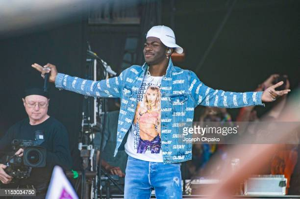 Lil Nas X performs at the Pyramid Stage during day five of Glastonbury Festival at Worthy Farm Pilton on June 30 2019 in Glastonbury England