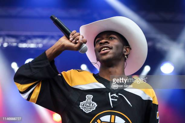 Lil Nas X performs his hit single Old Town Road during the 2019 Stanley Cup Final Party at Boston's City Hall Plaza in Boston on May 27 2019